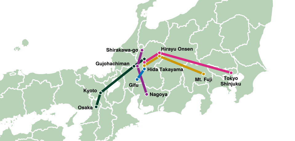 Travel By Bus HidaTakayamaShirakawago Bus Night Bus Booking - Japan map gifu